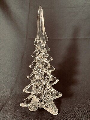 """Vintage Clear Art Glass Christmas Pine Tree Solid Figurine Paperweight 10.25"""""""