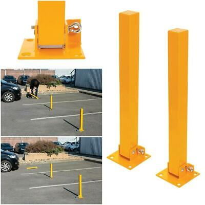 2x FOLD DOWN PARKING BARRIER SECURITY POST BOLLARD LOCKABLE DRIVEWAY