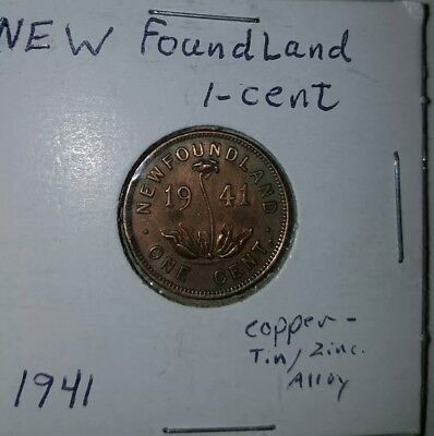 1941 Newfoundland Canada One 1 Small Cent Copper Tin Zinc Canadian Penny Gem