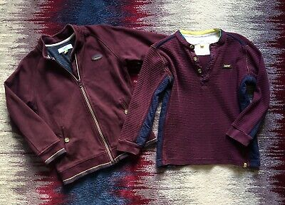 Ted Baker Boys Age 6-7 Years Small Bundle Set Red Zipped Jumper Jacket + Top Vgc