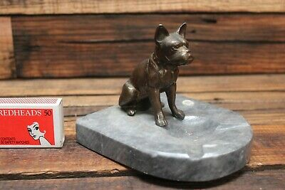 Vintage Figural Ashtray Spelter Figure Dog Marble Mexico Chihuahua