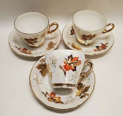 VTG Sterling China Japan Fall Leaves, Set of 3 Tea Cups w/Saucers, Demitasse Cup