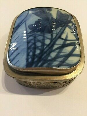 Antique Chinese Blue +  White Porcelain Shard Silver Plated Box with Flower