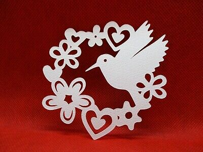 6 Humming Bird Garden Die Cuts.......cardmaking.......scrapbooking.........white