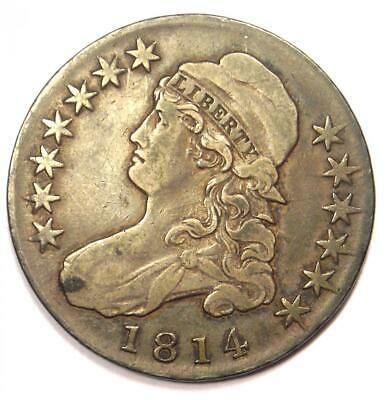 1814 Capped Bust Half Dollar 50C - VF Details - Rare Date Coin!