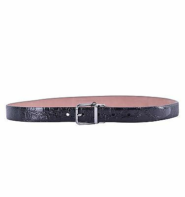 Dolce & Gabbana Patchwork Belt Lizard Crocodile Leather Black 04727