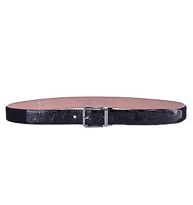 Dolce & Gabbana Patchwork Belt Crocodile Leather fur Calf Black 0470