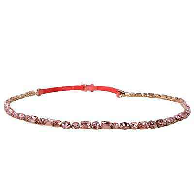 Dolce & Gabbana Runway Chain Belt for Dress Crystal Patent Leather Pink Gold