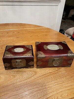 Vintage Chinese  Inlaid Carved Jade   ROSEWOOD JEWELRY BOX 2 pcs