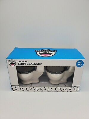 Big Mouth The Toilet Shot Glasses Set of 2 Toilet Shaped Shot Glasses New in Box