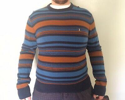 vtg 70s Munsingwear Penguin Men's Blue Brown Striped Lambswool Sweater crew XL