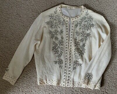 Vintage Womens Cardigan Sweater Beaded Pearls Size 8