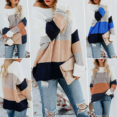Women Striped Jumper Top Cardigan Color Block Sweater Baggy Long Sleeve Pullover