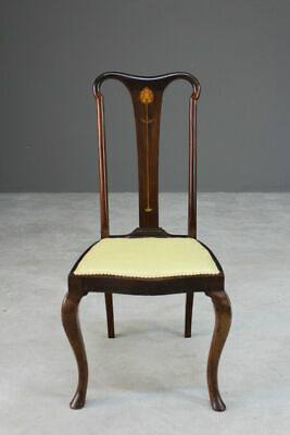 Single Antique Edwardian Inlaid Art Nouveau Dining Chair