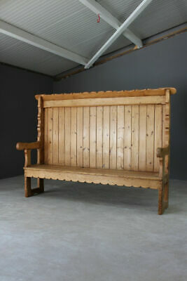 Antique Rustic Pine Settle Bench Kitchen Hall Country