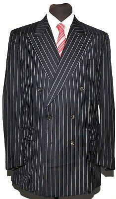 Gieves And Hawkes Double Breasted Suit Navy Chalk Stripe Pinstripe 44 Long 36 W