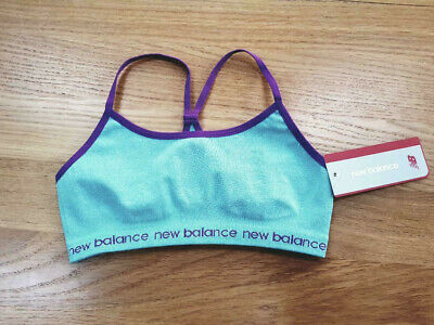 New Balance Girl Crop top Sports Bra Bralette Size 7 8 years NWT green dance S