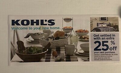 Kohls 25% Off Your Next In Store Or Online Purchase Exp 2/29/20