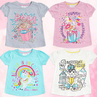 Toddler Infant Girls Printed T-shirts Cotton Rich Novelty Unicorn Summer Age 2-6