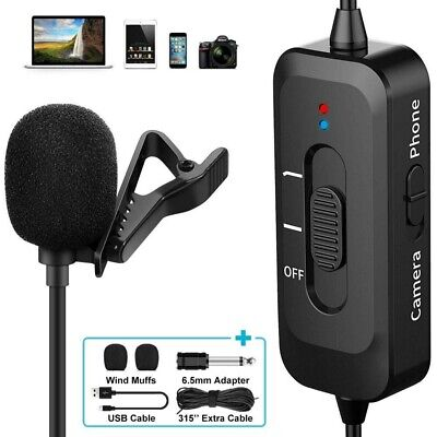 Pro Lavalier Lapel Microphone USB Charging Omnidirectional Noise Reduction Mic