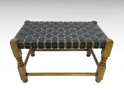 Leather and oak studded foot stool #2462