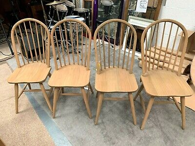 SET OF FOUR ( 4 ) x EX DISPLAY, OAK FRAMED, ROLL BACK DINING CHAIRS ,
