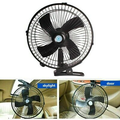 "24V 10"" Oscillating Fan Car Van Automotive Boat Interior Cooling Cooler Clip-on"