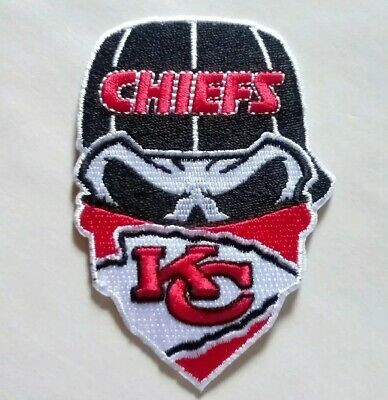 "Kansas City Chiefs Embroidered Skull 3 5/8"" Iron On Patch"