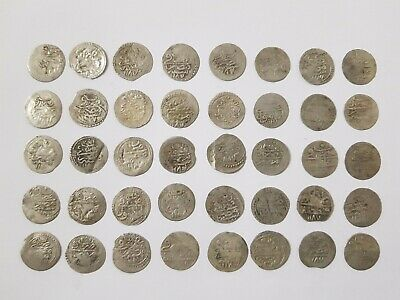 LOT of 40 pcs. SILVER OTTOMAN TURKISH TURKEY ISLAMIC AKCE COINS - RARE!
