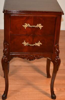 1940s French Provincial Mahogany Nightstand / Bedside table