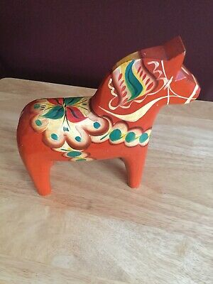 "Vintage 8"" Tall Dala Horse made in Sweden"