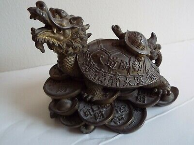 Old Chinese Metal Turtle With Dragon Head Carrying A Smaller Turtle On Back