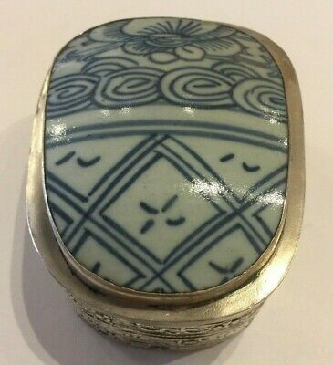 Antique Chinese Blue and White Porcelain Shard Silver Plated Box