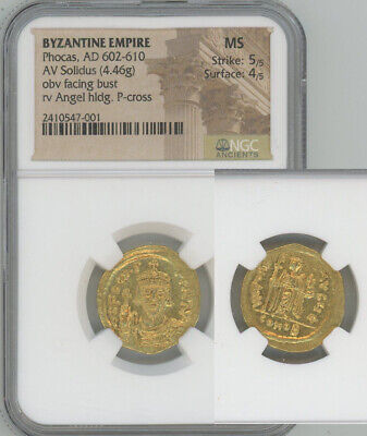 ANCIENT BYZANTINE EMPIRE gold solidus Phocas NGC MS 5/5 4/5