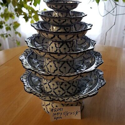 #2051 RARE Collectible Tower of 6 Bowls Made in Taiwan Cobalt Blue and White OBO