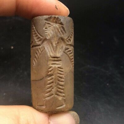 Crystal Rock Man With Wings On Angel Face Intaglio Cylinder Seal Old Bead
