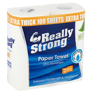 Really Strong Ultra Absorbent Kitchen Paper Towels 2ply x 30 rolls per polybag