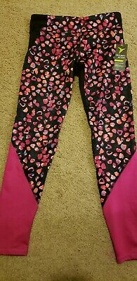 New Old Navy Active athletic Girls Size 10-12 Leggings black pink stretch go-dry