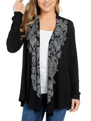 NEW - One World Knit Long Sleeve Printed & Embellished Open Front Cardigan