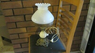 Vintage   Brass / Onyx / Glass  Steampunk  Table  Lamp