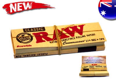 LARGE Rolling Papers + Tips Classic RAW Smoking Cigarette Paper Roll Hemp Grass