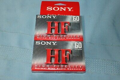 Sony High Fidelity 60 minutes 2 Pack Blank Audio Cassette Tapes C-60HFC Sealed
