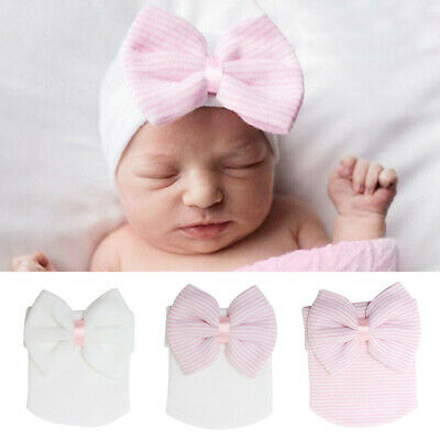 New Baby Girls Infant Striped Soft Hat with Bow Cap Newborn Beanie Diomand G9X