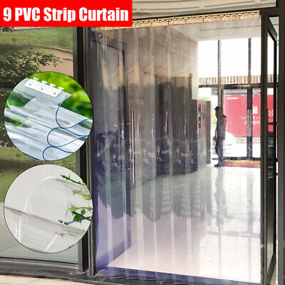 9x Clear Freezer Room PVC Plastic Strip Curtain Door Strip Kit Hanging Rail USA