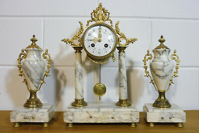 Antique French Mantel Clock Marble Clock French Clock Set Empire