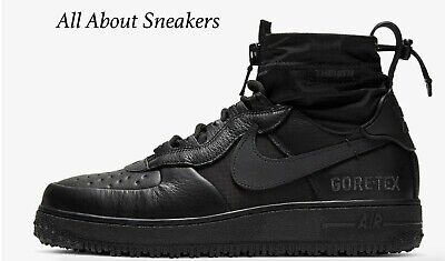 NIKE AIR FORCE 1 GORE TEX Black Men's Trainers All Sizes