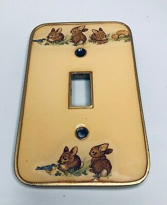 Vintage Bunny Rabbit Nursery Light Switch plate Brass & Porcelain Decorative