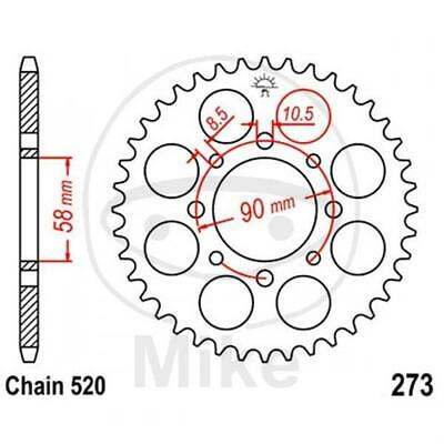 JT Sprockets 39 Teeth Chain Size 520 inside - Ø 58 mm Pitch Centre Diameter