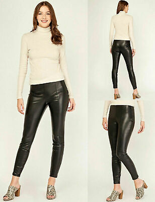 New Look Black High Waist Faux Leather Slim Leggings Size 6,8,10,12,14,16,18