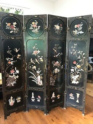 Vintage Chinese Black Lacquered Jade Stone Inlaid Screen 4 Panels Room Divider